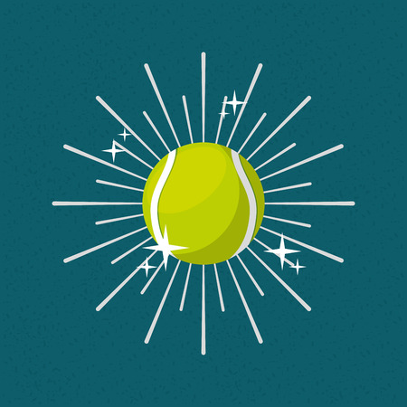 ball sport tennis sunburst color background vector illustration