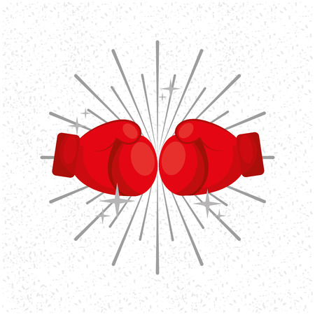 Gloves boxing sport sunburst background vector illustration.