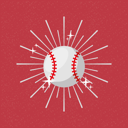 Ball sport baseball sunburst color background vector illustration. Ilustração