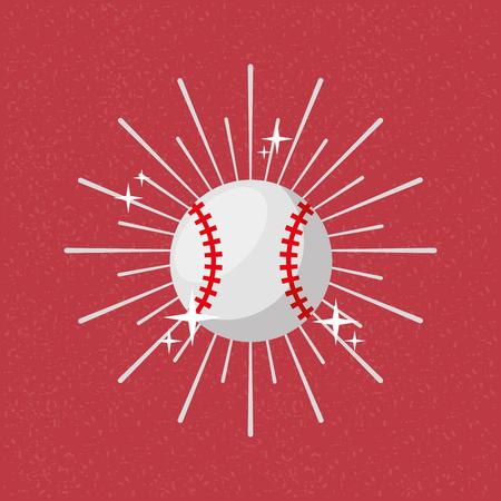 Ball sport baseball sunburst color background vector illustration. Illustration