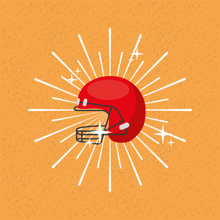 american football helmet sport sunburst color background vector illustration Illustration