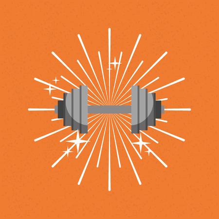 barbell gym sport sunburst color background vector illustration