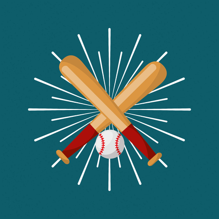 baseball bat and ball sport sunburst color background vector illustration