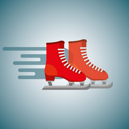 red pair ice skate blurred color background vector illustration