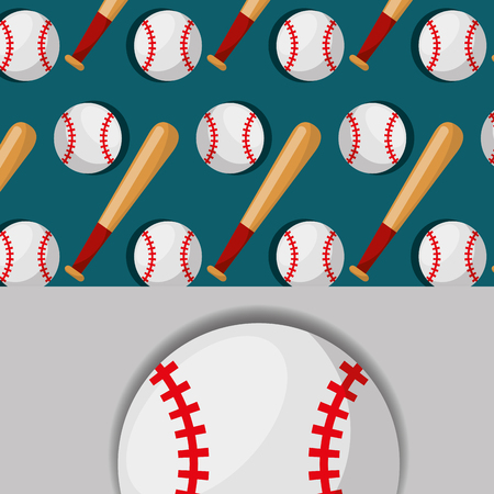 baseball bat and ball sport competition pattern vector illustration
