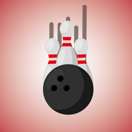 bowling pins and ball blurred color background vector illustration