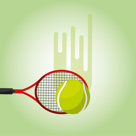 tennis racket and ball blurred color background vector illustration