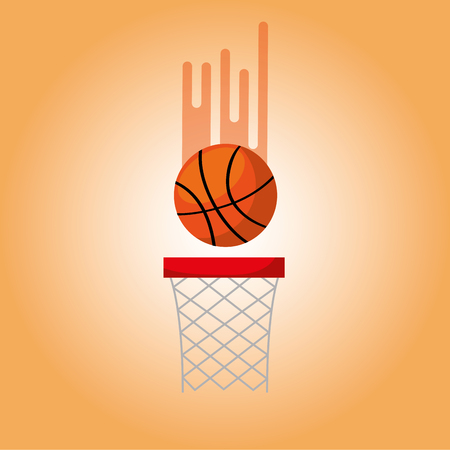 basketball hoop and ball blurred color background vector illustration