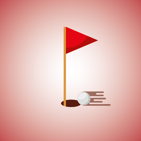 golf hole flag and ball blurred color background vector illustration Illusztráció
