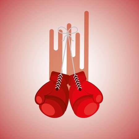 gloves boxing sport blurred color background vector illustration