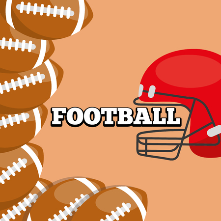 american football helmet and balls sport background design vector illustration