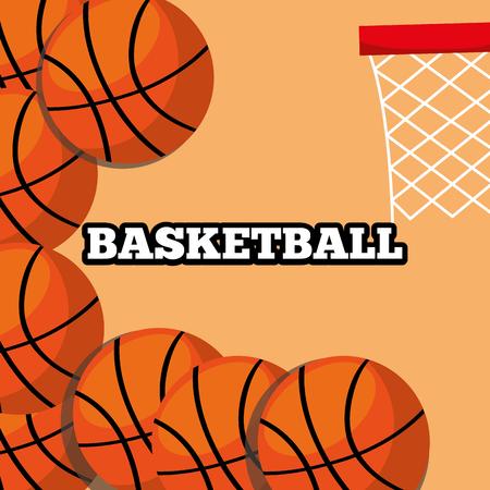 basketball balls and hoop sport background design vector illustration Illusztráció