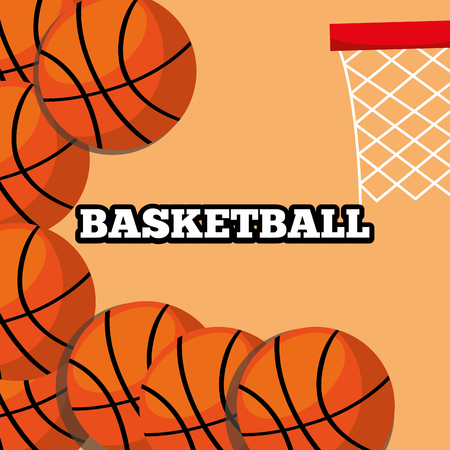 basketball balls and hoop sport background design vector illustration Illustration