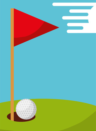golf ball hole and flag field sport vector illustration
