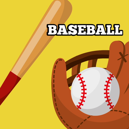 baseball leather glove ball and bat equipment sport game vector illustration Illustration