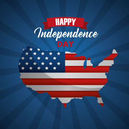 american map with flag happy independence day vector illustration