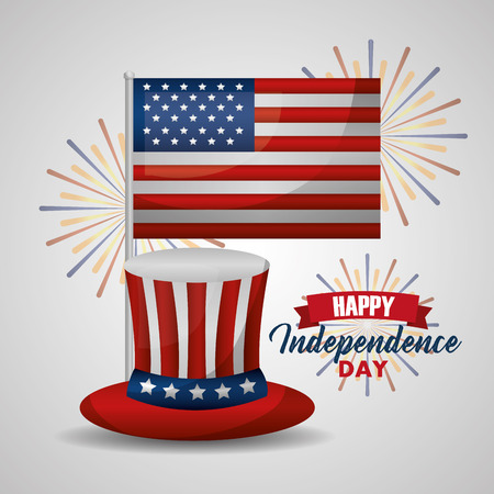 happy independence day top hat and flag american vector illustration
