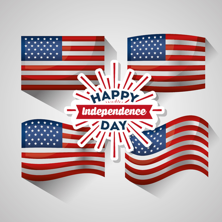 happy independence day flags national patriotic symbol vector illustration
