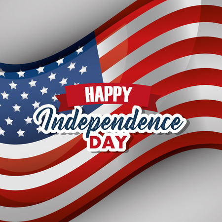 happy independence day waving flag american vector illustration