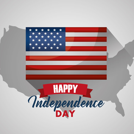 happy independence day american flag in map usa vector illustration