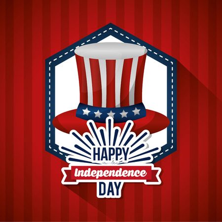 happy independence day top hat badge stripes background vector illustration Illustration
