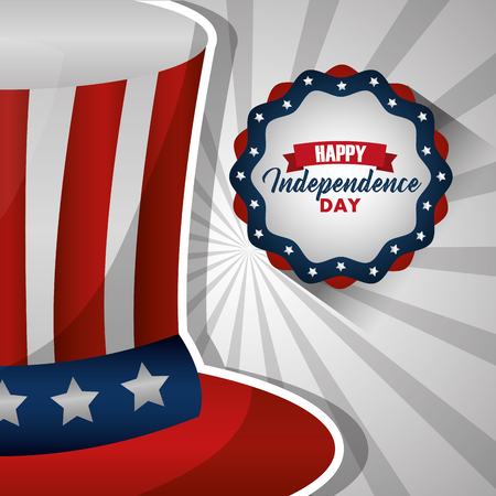 happy independence day top hat with color flag american label vector illustration