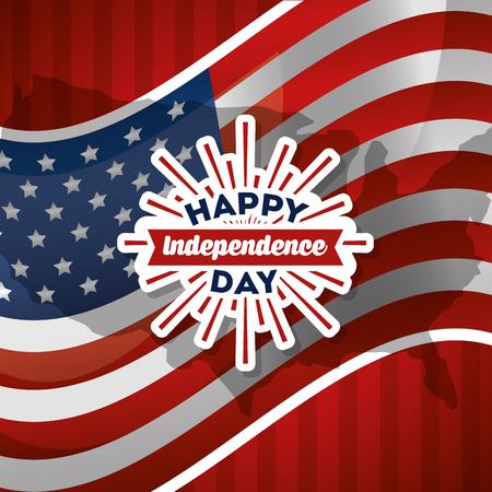 幸せな独立記念日グリーティングカードフラグ国家愛国ベクトルイラスト  イラスト・ベクター素材