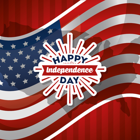 happy independence day greeting card flag national patriotic vector illustration Çizim