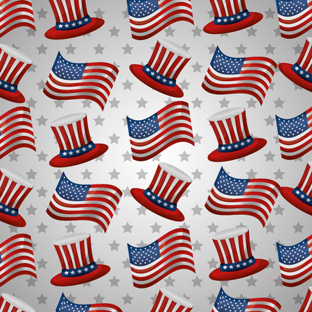 happy independence day top hat and flag american pattern vector illustration Illustration