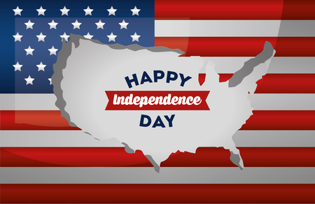 happy independence day american map on flag vector illustration Illustration