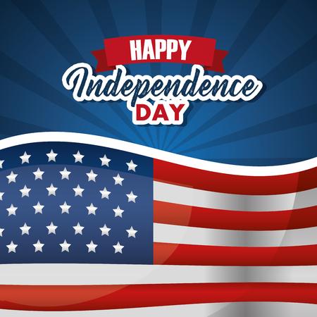 happy independence day card invitation celebration national vector illustration Ilustração