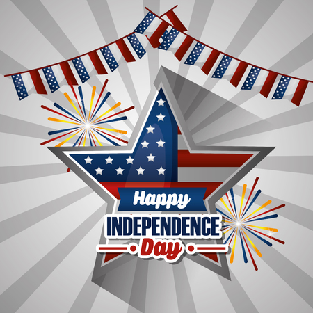 american independence day star with sing celebration pennants vector illustration Illustration