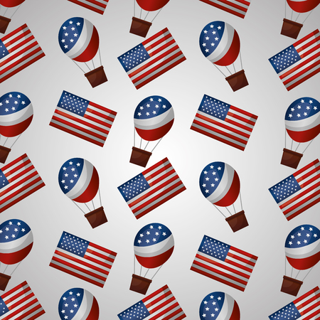 american independence day usa hot air balloons flags white background vector illustration
