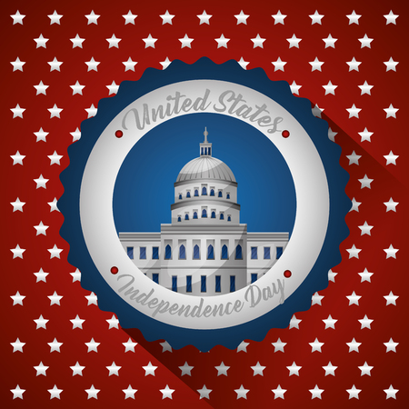 american independence day stars circle white house vector illustration Stock Photo