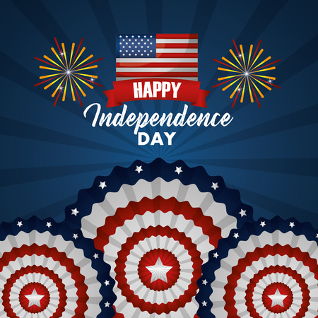 american independence day celebration happy revolution fireworks vector illustration Illustration