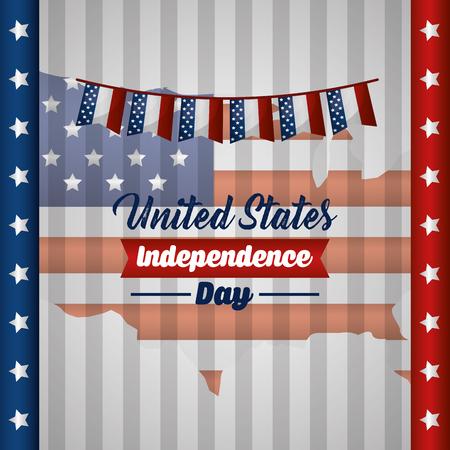 american independence day usa flag pennants celebration star vector illustration