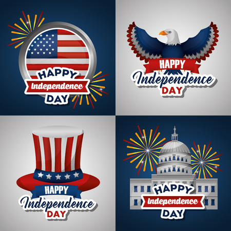 american independence day collage usa revolution eagle white house top hat vector illustration