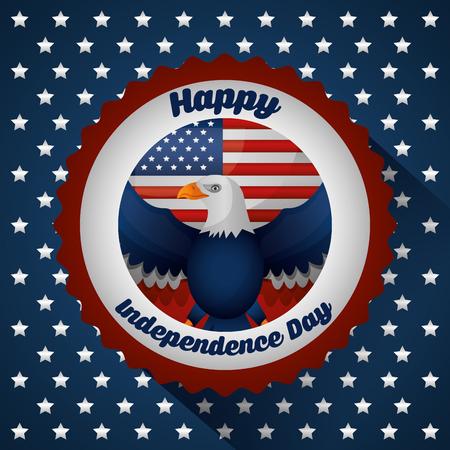 american independence day stars background eagle celebration vector illustration