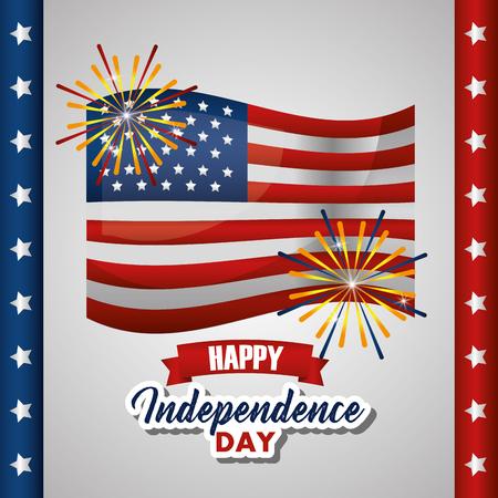 american independence day united states flag with fireworks fest vector illustration Illustration