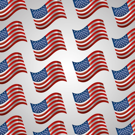 american independence day many usa flags white background vector illustration