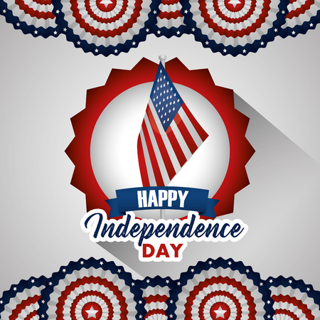 american independence day circles with usa flag red vector illustration Illustration