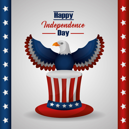 american independence day top hat above eagle united states flag vector illustration