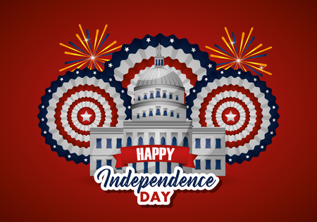 american independence day white house fireworks happy fest vector illustration