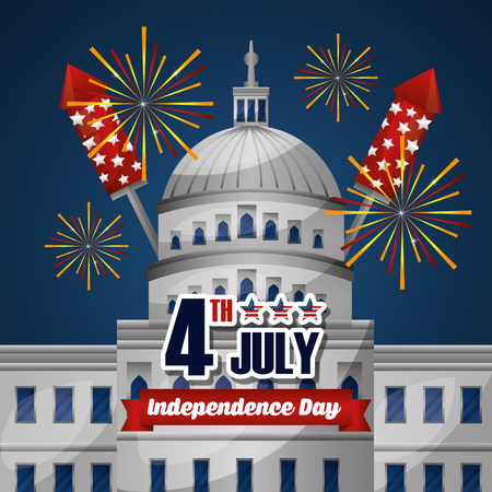 happy independence celebration white house with fireworks artificial rockets vector illustration