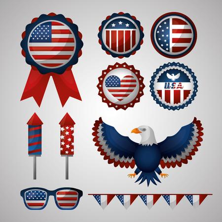 happy independence celebration important simbols of america eagle glasses vector illustration