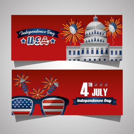 happy independence celebration photos white house american glasses vector illustration Stock Vector - 98923581