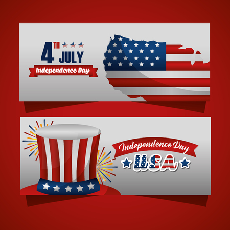 happy independence celebration two photos american flag 4 july day top hat vector illustration