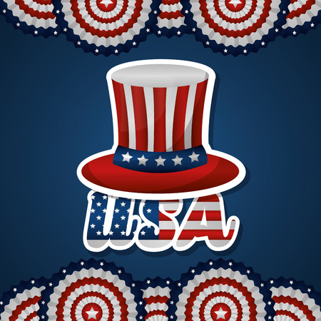 happy independence celebration usa top hat round decoration vector illustration