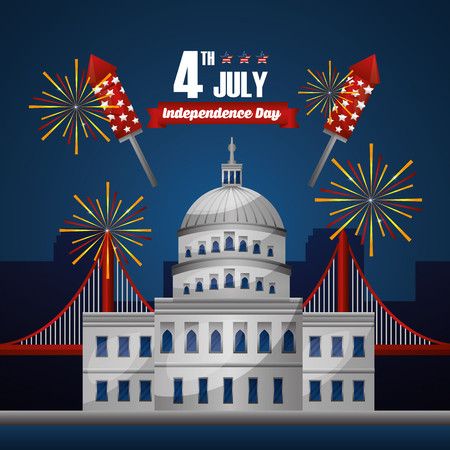 Happy independence celebration important day white house with fireworks vector illustration