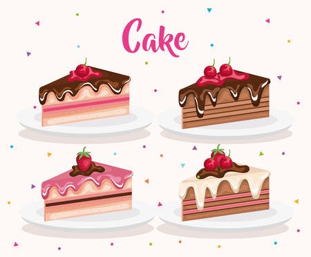 Set cake portions icons design Illustration